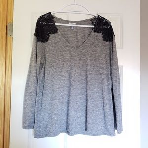 Old Navy Grey and Black Lace Top